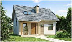 Fachada de casa térrea de pequeno porte e telhado aparente