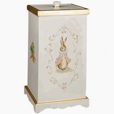 Perfect for Beatrix Potter themed nursery - this hand painted hamper is stunning. Can be customized to be boy or girl. Shown here with pink jacket but can also be painted in more of a boy theme with classic Peter Rabbit instead of the girl bunny shown here.