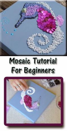 This is an easy mosaic craft for beginners. You need some beads and other decorative items to create this craft in your scrapbook.