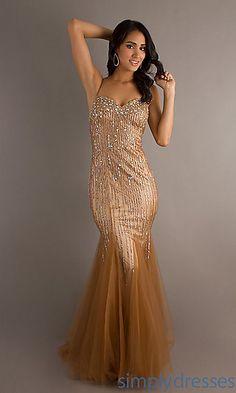 Long Spaghetti Strap Mermaid Dress at PromGirl.com