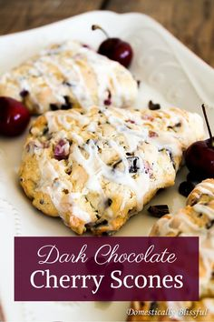 These Dark Chocolate Cherry Scones are the best scones I have ever tasted! My husband doesn't like cherries, but these are his absolute favorite scones. I eat them for breakfast, brunch, & dessert! Baking Recipes, Bread Recipes, Scone Recipes, Brunch Recipes, Dessert Recipes, Chocolate Cherry, Baking Chocolate, Chocolate Muffins, White Chocolate