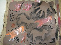 Cave painting (I like that she did it with multiple grades- its interesting to compare the work. They are all beautiful!)