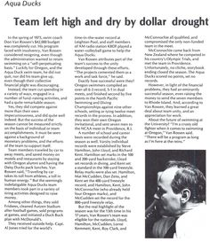 Oregon swimming team has its funding cut, yet continues on during 1975-76 school year. From the 1976 Oregana (University of Oregon yearbook). www.CampusAttic.com