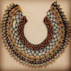 Inspired by antiquity: Egyptian faience necklace, BC. At the Legion of Honor, SF. Fabric Jewelry, Jewelry Art, Antique Jewelry, Beaded Jewelry, Beaded Necklace, Jewelry Design, Jewellery, Egypt Jewelry, Ancient Egyptian Jewelry
