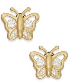 Cubic Zirconia Butterfly Stud Earrings in 10k Gold