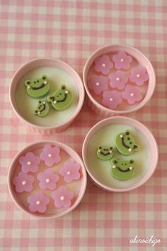 Frogs n Sakura Pudding Jelly Desserts, Cute Desserts, Japanese Sweets, Japanese Food, Agar Agar Jelly, Cute Baking, Green Tea Ice Cream, Jelly Shots, Matcha Smoothie