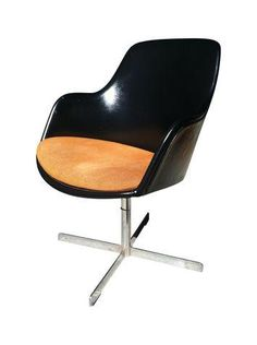 Mid-Century Modern Black and Orange Chair on Chairish.com