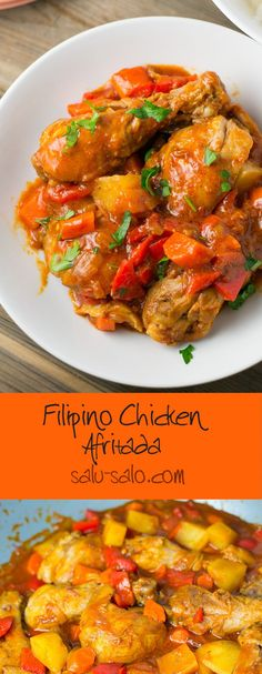 Chicken Afritada (Chicken Braised in Tomato Sauce) Chicken Afritada - Salu Salo Rezepte Comida Filipina, Asian Recipes, Ethnic Recipes, Le Diner, International Recipes, Turkey Recipes, The Best, Main Dishes, Foodies