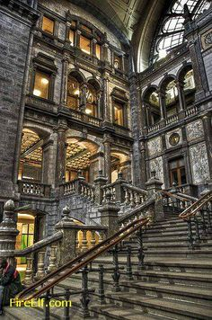 Antwerp Central Station, Belgium.  Central Station is one of the most beautiful railway station of the world. ◬