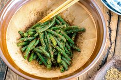 Green Bean Gomaae (Sesame Dressing) インゲンの胡麻和え Japanese Salad, Japanese Dishes, Japanese Food, Japanese Meals, Japanese Culture, Green Bean Salads, Green Bean Recipes, Beans Recipes, Veg Recipes