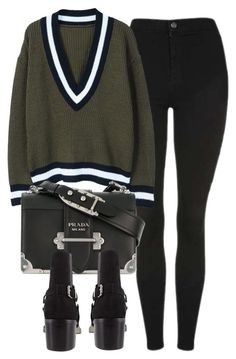 """Untitled #7143"" by laurenmboot ❤ liked on Polyvore featuring Topshop, MANGO and Prada"