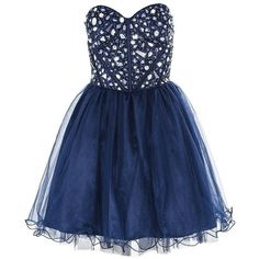 Navy Blue Crystal Embellished Dress: Amazon.co.uk: Clothing ($65) ❤ liked on Polyvore