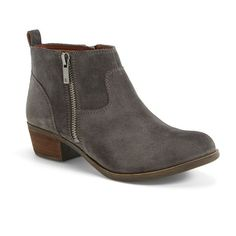 "Lucky Brand 'Betwixt' Bootie , 1 1/2"" heel ($129) ❤ liked on Polyvore featuring shoes, boots, ankle booties, ankle boots, storm suede, chunky ankle boots, suede bootie, suede booties, cowboy booties and short cowgirl boots"