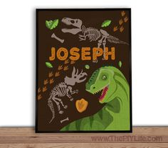 Home Decor  Dino Dig Fossils Wall Art Gift Printed by ThePIYLife