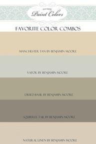 Benjamin moore paint colors: manchester tan vapor dried basil squirrel tail natural linen