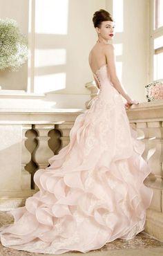 Stunning strapless blush ruffled skirt ballgown wedding dress; Featured Dress: Atelier Emé