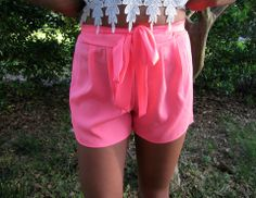 Neon Pink Bow Shorts - BubbaJane's Boutique