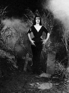 """Vampira in Ed Wood's 'Plan 9 From Outer Space' (1956) - """"Ed didn't give me any other kind of direction except """"walk there and when I say stop, stop.He was a tender, caring, and friendly man who loved animals."""""""