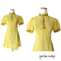 Babydoll Dress 60s Mod Mini Yellow Floral Dress Size XS Small Embroidered Puff Sleeve 1960s 70s 1970s Go Go Twiggy Hippie Hippy by GoodLuxeVintage on Etsy