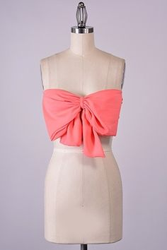 peach bandeau bow top