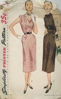 An original ca. 1951 Simplicity Pattern 3610.  One Piece Dress: The bodice features vertical tucks at the front and soft pleats at the back waistline. The skirt is fashioned with soft pleats of the waistline and pockets at the side seams. The cuffed sleeves of Style 1 end just above the elbow. A tie collar is featured. Style 2 has short sleeves and a notched collar.