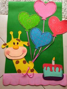 Arte em E.V.A - Arca de Noé - Parabéns Jungle Crafts, Daycare Themes, Birthday Charts, Board Decoration, School Bulletin Boards, Shaped Cards, Ideas Para Fiestas, Montessori Activities, Birthday Board