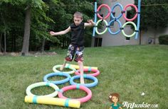 Agility Jump out of Pool Noodles - same ones used for 'javelin' throw
