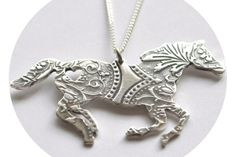 Sterling silver vintage style embossed horse pendant, with small heart cut out.Sterling silver chain included in te=he cost. Jewely Organizer, Small Heart, Personalized Jewelry, South Africa, Vintage Fashion, Sterling Silver, Chain, Antiques, Pendant