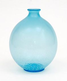 Pale-blue glass Serica vase no.6 with crackle design A.D.Copier 1928 executed Glasfabriek Leerdam / the Netherlands