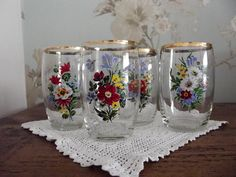 1960s /  drinking glasses / floral / kitsch / by DollyTopsyVintage, £15.00