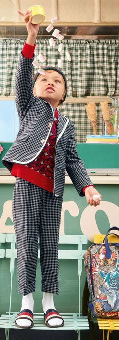 37442b26d93366 GUCCI Boys Blue Check Gingham Print Suit   Red Sweater for Spring Summer  2018. Super