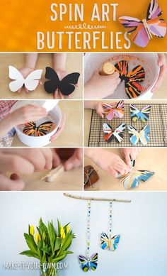 Spin Art Butterflies: This art/craft project uses centrifugal force to create these beautiful painted butterflies! Spring Crafts For Kids, Easy Crafts For Kids, Summer Crafts, Toddler Crafts, Projects For Kids, Art For Kids, Art Projects, Butterfly Template, Butterfly Crafts