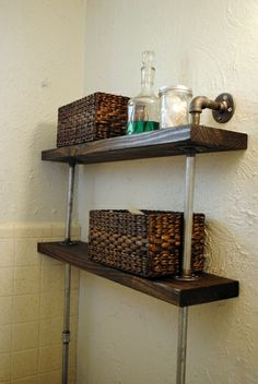 Hallway Bathroom Build These Shelves For The Bathroom Over The  Toilet.industrial Look.