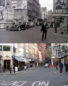 292-Charing Cross Road, Old Compton Street 1953 and 2012 by Warsaw1948, via Flickr