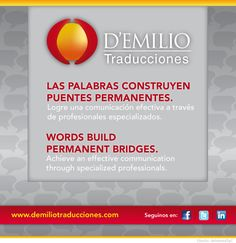 D'Emilio Translations team are Sworn Translators registered with the Sworn Translators' Association of the City of Buenos Aires, chosen by their professional experience and high knowledge. Each Translator is an expert with whom we have a close relationship allowing us to create our solid translation team.