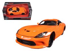 """2013 Dodge Viper GTS SRT Orange """"Modern Muscle"""" 1/24 Diecast Model Car by Maisto - Brand new 1:24 scale diecast model car of 2013 Dodge Viper GTS SRT Orange """"Modern Muscle"""" die cast car model by Maisto. Brand new box. Rubber tires. Detailed interior, exterior. Has opening hood and doors. Made of diecast with some plastic parts. Dimensions approximately L-7.5, W-3.5, H-2.75 inches. Please note that manufacturer may change packing box at anytime. Product will stay exactly the same.-Weight: 2…"""