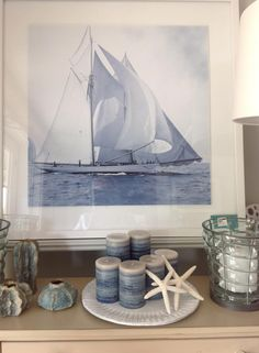 America's Cup print with a blue tint. at Palllian, Wells, Maine. Maine Cottage, America's Cup, Wells, Tapestry, Blue, Home Decor, Hanging Tapestry, Tapestries, Decoration Home