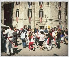 Gubbio, Umbria - Every year on May 15 the town of Gubbio celebrates the Corsa dei Ceri. Dancing in the streets is a common.  www.ciutravel.com