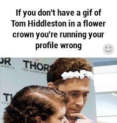 Tom in a flower crown.. Awww