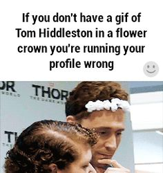 Tom in a flower crown.. Awww