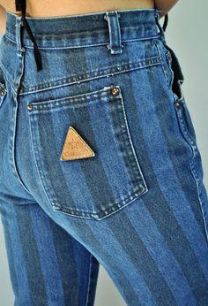 e6f81e4dc5c9 Vintage 80s Jeans High Waisted Mom Jeans   Striped Denim ZENA Jeans 1980s  Taper Leg Womens High Waist Jeans Vintage Blue Jeans 24 Waist