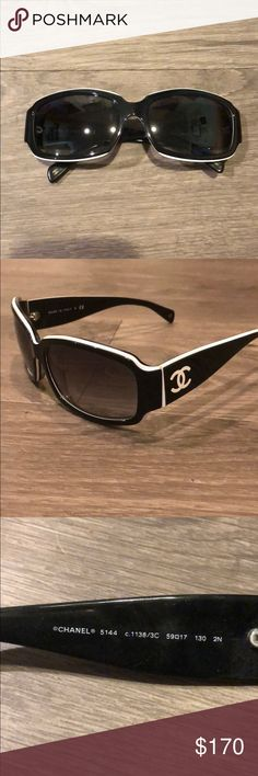 c27d38e01a66 Shop Women s CHANEL Black White size OS Sunglasses at a discounted price at  Poshmark. Description  CHANEL sunglasses Black with white accents.