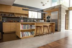 Wooden kitchen with sink / bookshelf