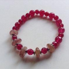 Real Quartz And Moonstone Bracelet. Genuine Multi Gem Stone Stretch Bracelet.