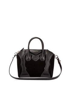 L0PAB Givenchy Antigona Small Brogue Suede Satchel Bag, Black
