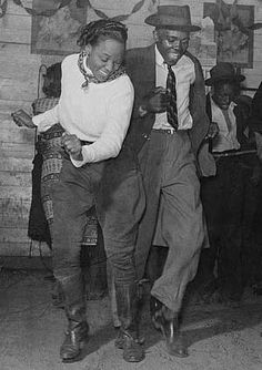 Jitterbug dancers at a juke joint in 1939 - one of the dances that  shaped west coast swing dancing - photo from Library of Congress