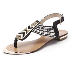 Laguna Quays Boho Black/White (290 MXN) ❤ liked on Polyvore featuring shoes, sandals, flats, zapatos, boho sandals, synthetic leather shoes, flats sandals, metallic sandals and beach sandals