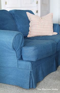 Durable, washed indigo denim slipcovers for the cottage. Sandy feet and damp bathing suits welcome!