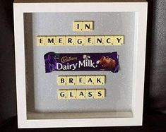 Items similar to Emergency Chocolate Scrabble frame 9 x Unique gift for any occasion Birthday Fathers Day Christmas on Etsy Scrabble Letter Crafts, Scrabble Tile Crafts, Scrabble Art, Scrabble Letters, Box Frame Art, Box Frames, Box Art, Hobbies And Crafts, Crafts To Make