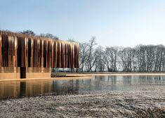 Coussée & Goris and RCR Arquitectes use iron-coloured concrete for Belgian crematorium